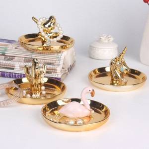 Ceramic Jewelry Ring Holder with Gold Rim with Turtle