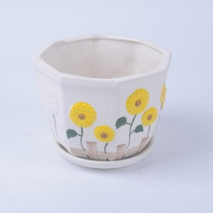 sunflower embossed design ceramic tea cup flower pot with caucer