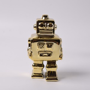Metal imitation Ceramic Robot robot porcelain Christmas Gifts Figurine Decoration Gold Color
