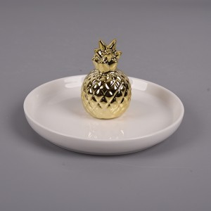 ceramic  pineapple Jewelry ring holder