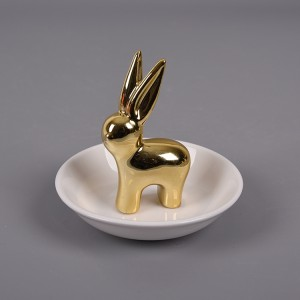 Wholesale price cute rabbit cheap marble ceramic ring holder dish from China