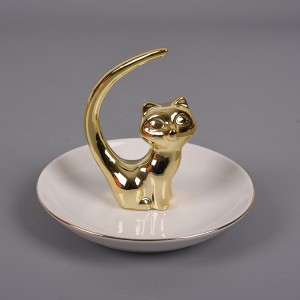 Fox Ring Holder Ceramic Ring Dish for Jewelry and Trinket Dish Jewelry Holder Plate Stand