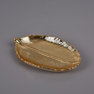 Gold Leaf Trinket Dish Decorative Ring Dish Holder for Jewelry