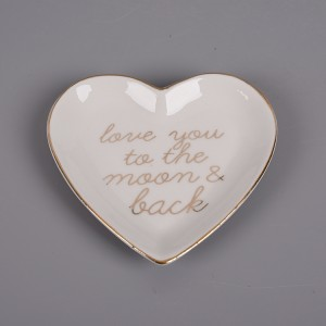 Personalized heart shaped ceramic ring dish for factory direct sale