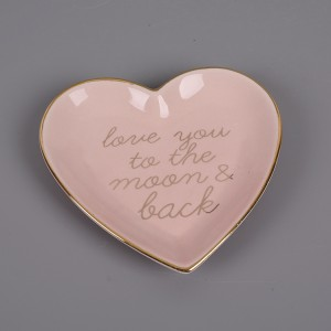 Ceramic Heart Shaped Handmade Jewelry And Ring Dish Gold Luster With Polka Dots Whole Sale Supplier