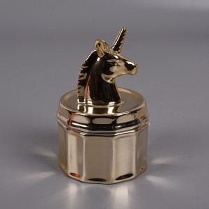 Gold Plated Ceramic Unicorn Jewelry Anti-Dust Box