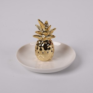 Ceramic Pineapple Ring Holder Ananas Jewelry Dish Decor Jewelry Organizer