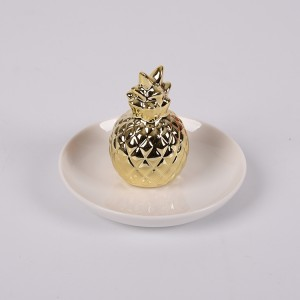 Ceramic Pineapple Jewelry Rings Holder Tray Dish Plate