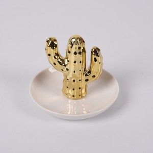 Porcelain Cactus Rings Holder Jewelry Tower Ceramic Dish Plate Organizer Gold Cactus