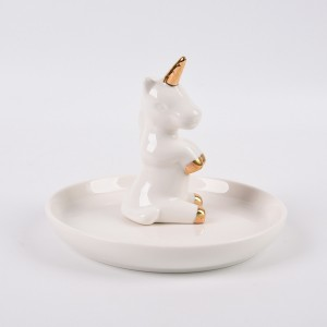 Ceramic Jewelry Plate Dish Ring Holder Jewelry Organizer with Golden Edged Home Decor Wedding (Unicorn)