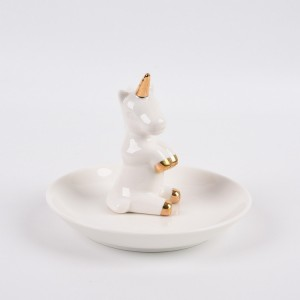 Unicorn Ceramic Ring Dish Holder for Jewelry,Engagement Wedding Trinket Trays Ring Display Holder
