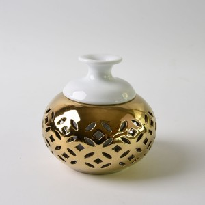 Gold diffuser flower rose lotus candle holder hollow ceramic aroma stove