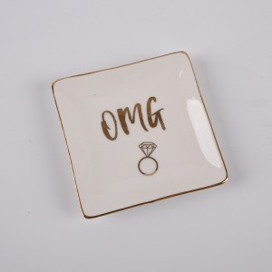 OMG Jewelry Dish Heart Gold Ceramic Ring Trinket Tray