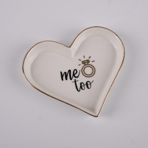 "Ceramic Heart Shaped ""Me Too"" Trinket Dish"