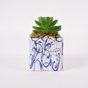 European succulent flower pot ceramic trumpet water transfer simple literary personality Amazon with wooden tray green dill pot