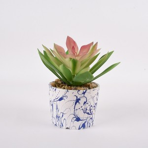 High quality cheap indoor home decor artificial succulent plant with ceramic pot