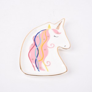 Unicorn Decorative Ceramic Ring Holder Or Jewelry Tray, One Size, White/Pink/Gold