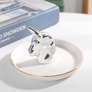 Porcelain Unicorn Ring Holder ,ceramic Ring Dish for Jewelry