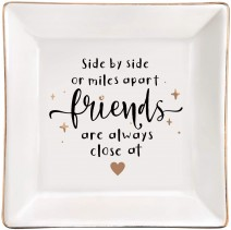ElegantPark Friends Gifts Friendship Gifts for Women Ring Dish Sister Christmas Birthday Gifts for Friends BFF Square Ceramic Ring Dish Decorative Trinket Jewelry Tray