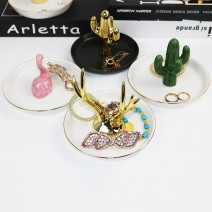 Unique Design Ceramic Lady Ring Jewelry Holder for Home Decor with Deer Head