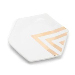 Hexagon Metallic-Trim Ceramic Jewelry Dish