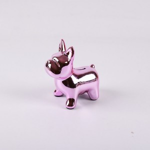 Factory direct high quality silver ceramic dog ceramic piggy bank for wholesale