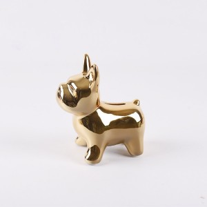 Wholesale electroplated gold money box ceramic dog shaped piggy bank