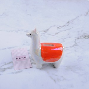 Cheap Ceramic Mini Alpaca Shape Money Box Piggy Bank