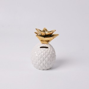 Nordic Style White Gold Pineapple Design Ceramic Piggy Bank