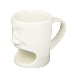6 oz Ceramic Creative Cute Face Mug with Biscuit Holder, White