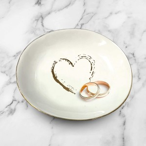 Ceramic Heart Ring Holder White & Decorative Gold | Ring, Bracelet, Jewelry, Trinket Tray/Dish | Great for Wedding Ring, Earrings, Diamond Ring & Engagement Ring Holder | Office & Home Decor