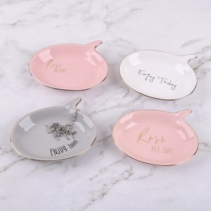 Ceramics Jewelry Tray Mother/Bride/Sister Decorative Trinket Dish Holder Gift(Pink)