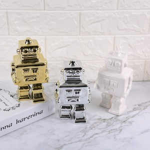 Metal imitation Ceramic Robot robot porcelain Christmas Gifts Figurine Decoration White Color