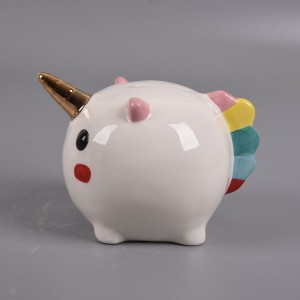 2019 China hot sell New Arrival Cute Rainbow Unicorn Ceramic piggy bank