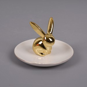 New Design Cheap Silver Bunny Rabbit Ring Holder Jewelry Tray