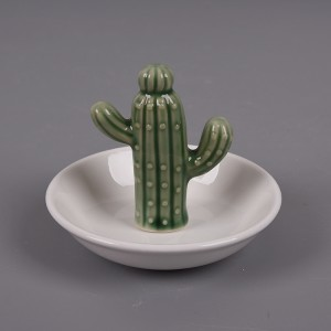 Ceramic Cactus Ring Holder, Jewelry Organizer Dish, White