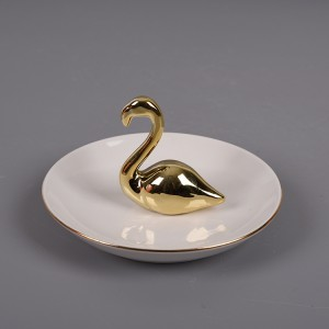 Flamingo Shaped Gold and White Ceramic Ring Jewelry Holder
