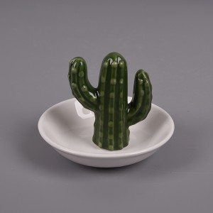 Porcelain Cactus Ring Holder Color Glaze Ceramics