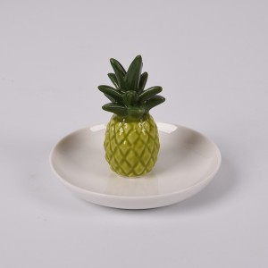 Ceramic Green Pineapple Shape Jewelry Dish Organizer