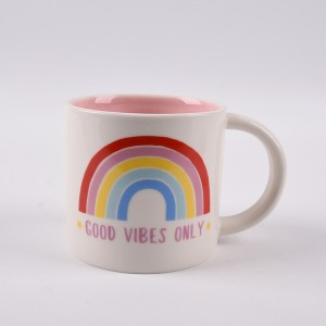 New Design Cheap Creative Cartoon Ceramic Mug Rainbow Cups