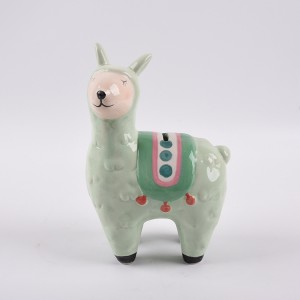 Cutely ceramic coin bank dolomite Llama /alpacas design Handpainted
