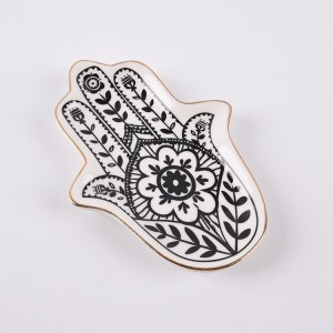 Trinket Dish Hamsa Hand Plate Ceramic Jewelry Dish Ring Holder Hand Tray Plate