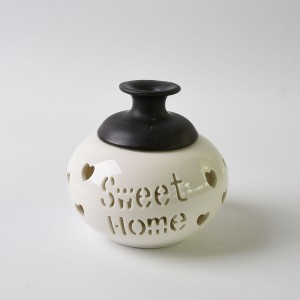 Custom ceramic candle wax warmer with flower design