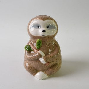 New Design Animal Shape Ceramic Sloth Piggy Bank Coin Box