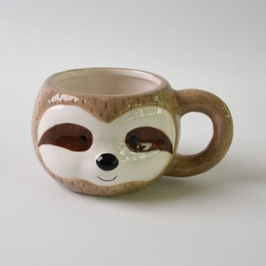 Custom hand painted animal coffee mugs sleeping sloth 3d ceramic mugs kids gift mug