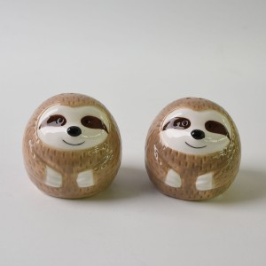 DOLOMITE SUCCULENT ANIMAL SLOTH Ceramic Salt and Pepper sets