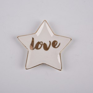 Ceramic Trinket Tray Star Shape-LOVE Creative Golden Edged Jewelry Dish
