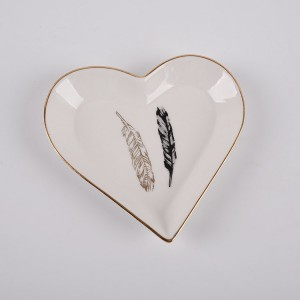 White Ceramic Heart Trinket Dish With Gold Feather Gisela Graham