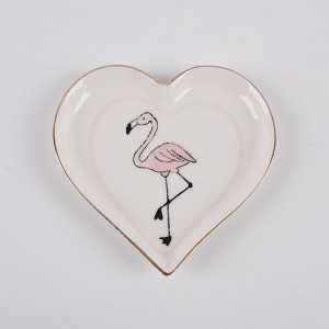 Porcelain Flamingo Trinket Dish