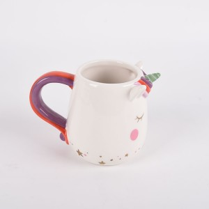 Large Ceramic Unicorn Mug - 16 oz, Fun, Cute, 3D Rainbow Unicorn Cup With Handle for Coffee, Tea, More